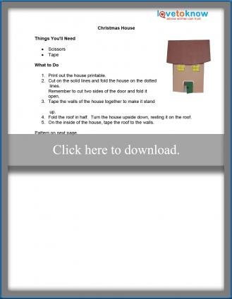 Printable Christmas house craft