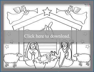Nativity scene coloring page