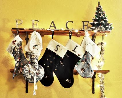 Christmas stockings hanging from shelves