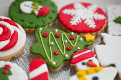 Close-up of homemade decorated Christmas cookies
