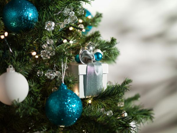 Blue and white Christmas tree ornaments