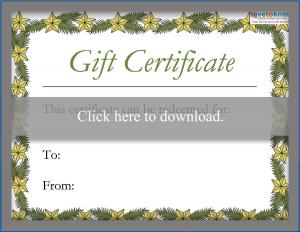 graphic regarding Free Printable Christmas Gift Certificates called Printable Xmas Reward Certificates LoveToKnow