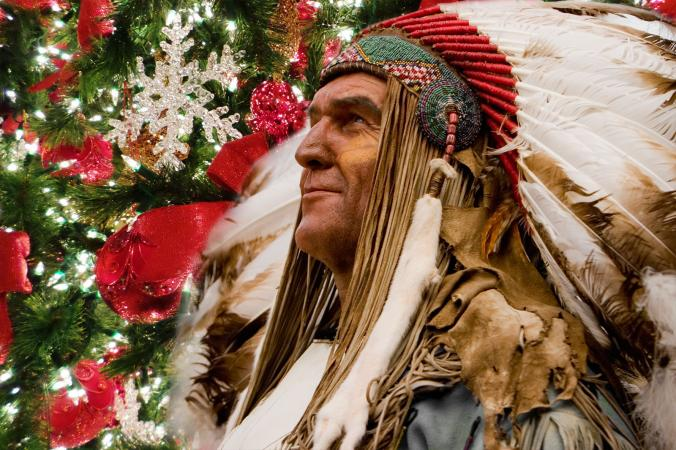 Chief with Christmas tree decorations
