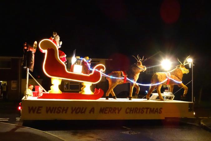 Lighted Christmas float in parade