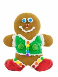 Gingerbread man cookie with smiling face