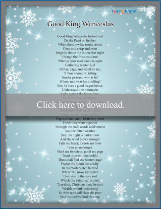 Good King Wenceslas Christmas Carol