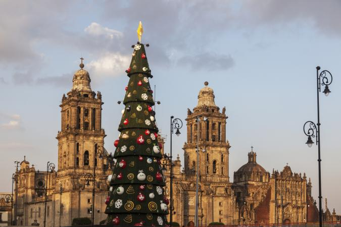 Metropolitan Cathedral in Mexico City with Christmas Tree Decoration