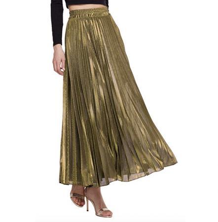 AMORMIO Women's Glittery Gold Metallic Accordion Pleated Maxi Skirt