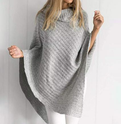 Jaeounr Women Casual Loose Turtleneck Knitted Poncho