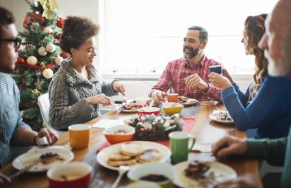 Family having breakfast on Christmas morning