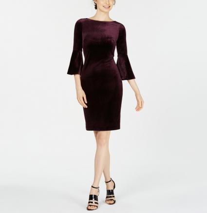 Calvin Klein Bell-Sleeve Velvet Dress