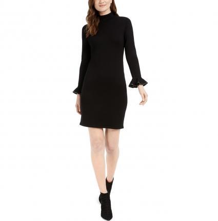 Calvin Klein Embellished-Cuff Mock-Neck Sweater Dress