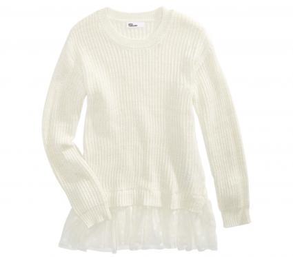 Big Girls Lace Peplum Sweater, Created For Macy's