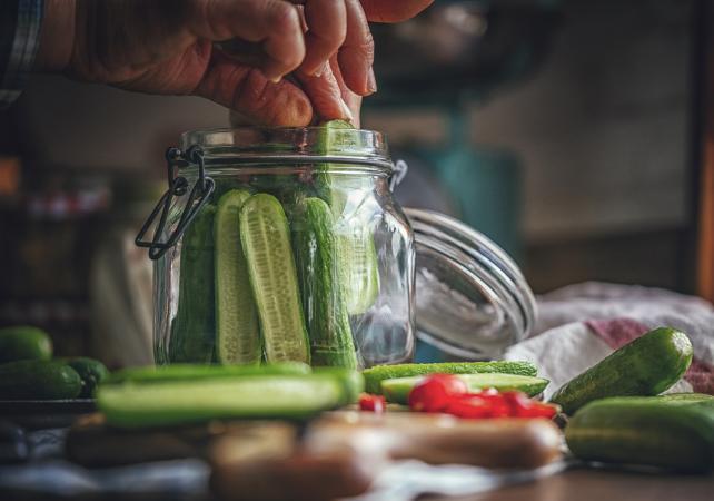 Preserving Organic Cucumbers in Jars