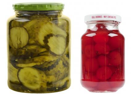 Jar of pickles and maraschino cherries