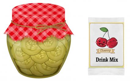 Jar of pickles and packet of cherry drink mix