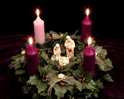 Christmas Advent Wreath with Nativity Scene