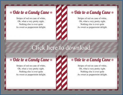 Ode to a Candy Cane poem printable