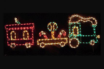 Animated train Christmas lights - 3 Piece Lollipop Train