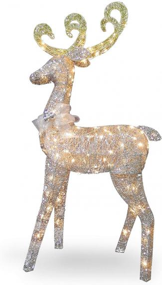 Crystal Standing Deer with 100 Clear Mini Lights