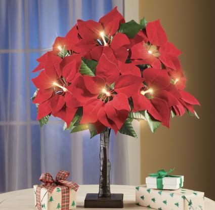 Fiber Optic Lighted Poinsettia Tabletop Tree