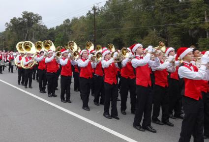 Band playing in Christmas parade