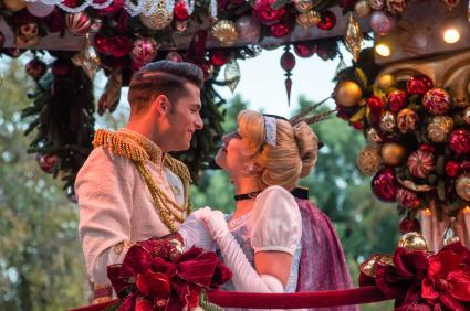 Prince Charming and Cinderella on parade float