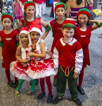 Children in elf costumes