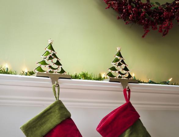 Christmas stockings hung on the fireplace mantel