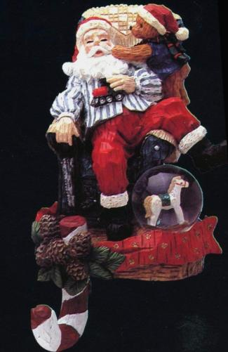 Santa with Teddy Bear and Rocking Horse & Train Stocking Hanger