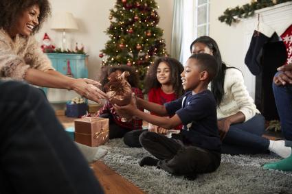 Family gift giving Christmas