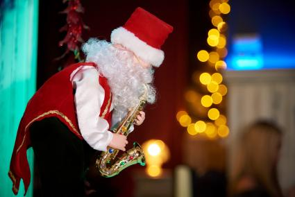 Decorative Santa Claus with a saxophone