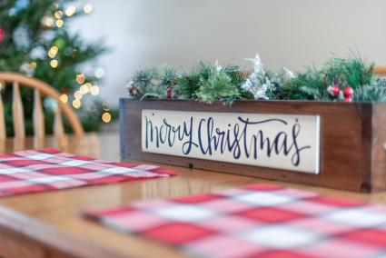 Tabletop decorated for Christmas holiday