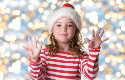 cute little girl in a Santa Claus hat