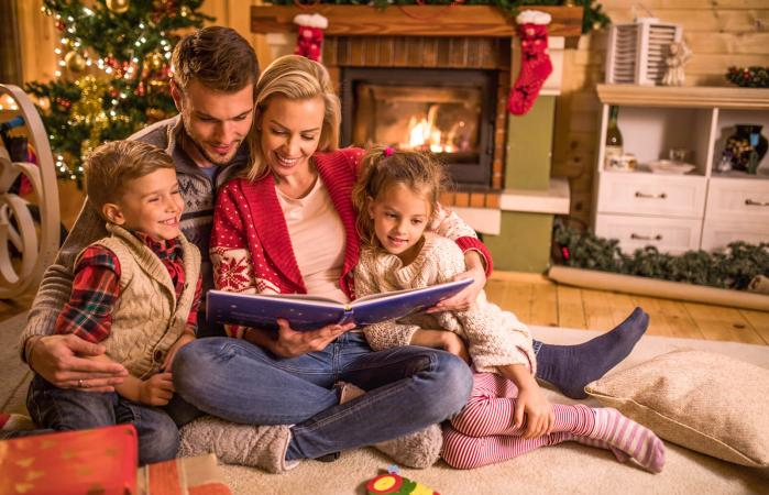 Family reading religious stories