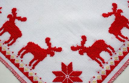 Cross-Stitched red deer pattern