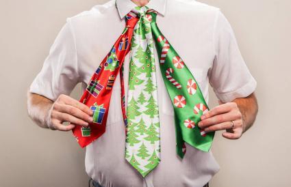 man with Christmas ties