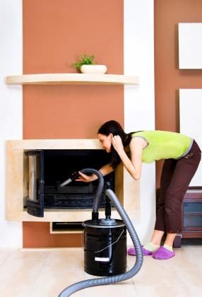 cleaning fireplace