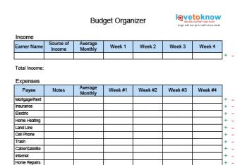 printable budget organizer