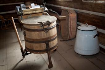 rustic wooden washing machine wringer washtub