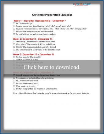 Christmas Preparation Guide Printable