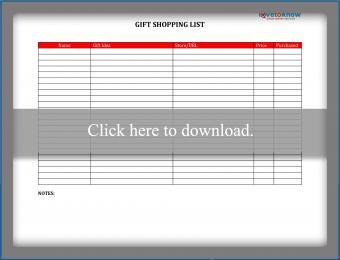 Gift Shopping List printable