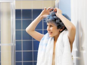 Blue Hair Dye On Towel