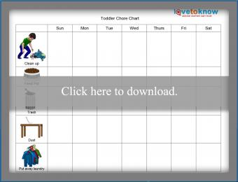 Toddler Weekly Picture Chore Chart