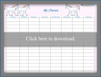 Rainbow Horse Weekly Chore Chart