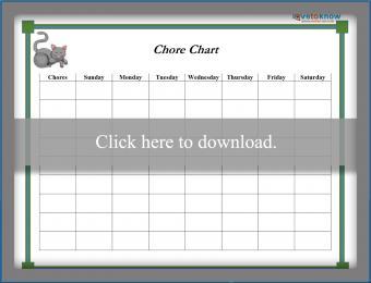 Gray Cat Weekly Chore Chart