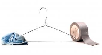 Coat hanger, rag and duct tape