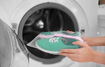Putting sneakers into washing machine
