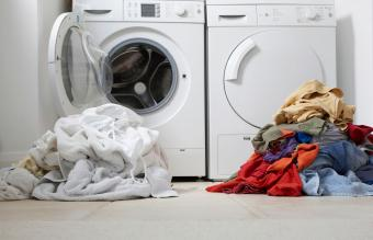 one colored one white pile of washing