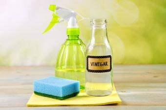 White vinegar in spray bottle to remove stains and smells